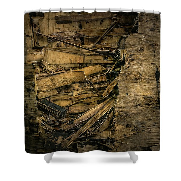 Smashed Wooden Wall Shower Curtain