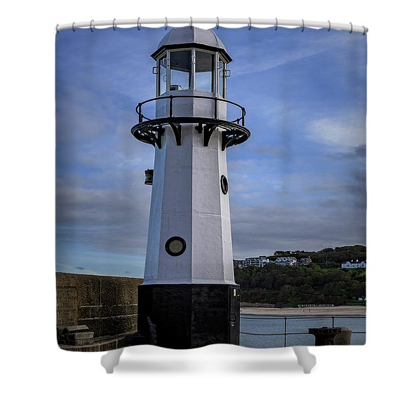 Smeaton's Pier Lighthouse Shower Curtain