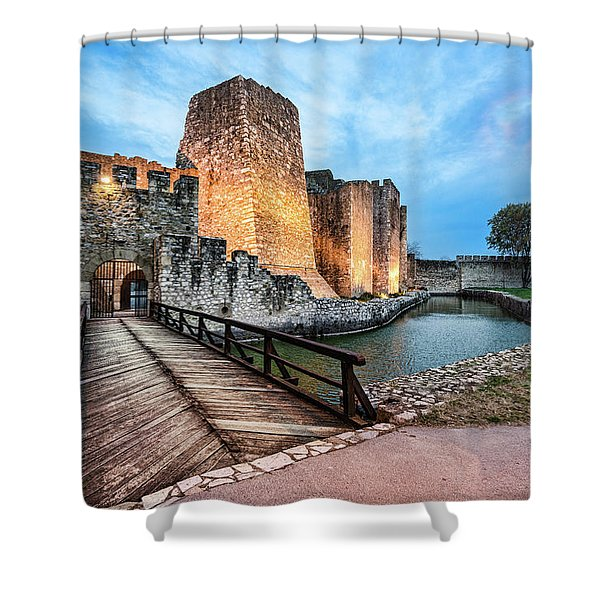 Shower Curtain featuring the photograph Smederevo Fortress Gate And Bridge by Milan Ljubisavljevic