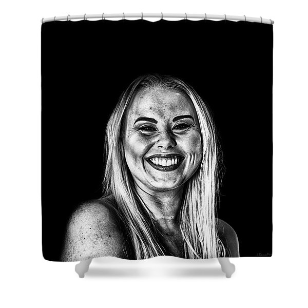Smile In Dark Portrait Shower Curtain