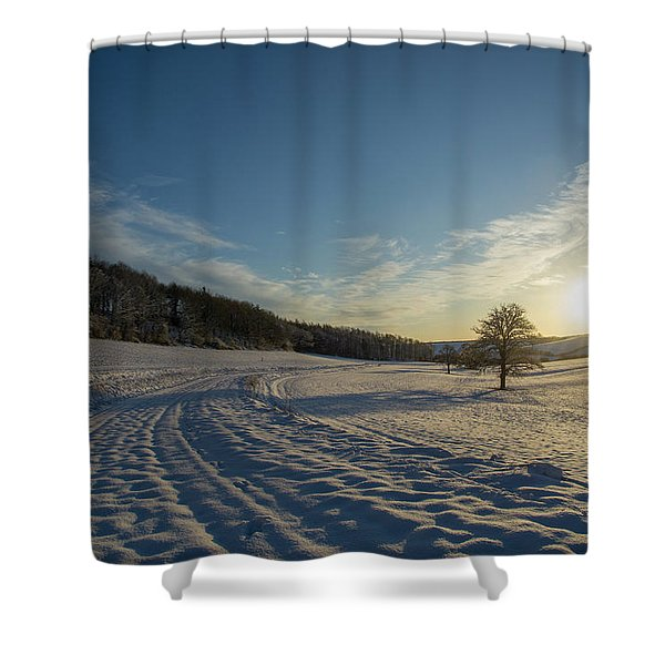 Snow And Sunset Shower Curtain