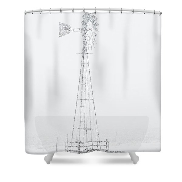 Shower Curtain featuring the photograph Snow And Windmill 04 by Rob Graham