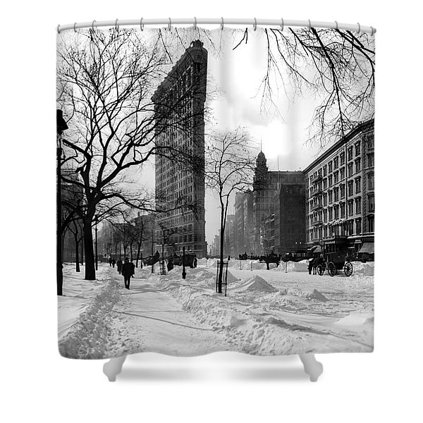 Snow At The Flatiron Building Shower Curtain