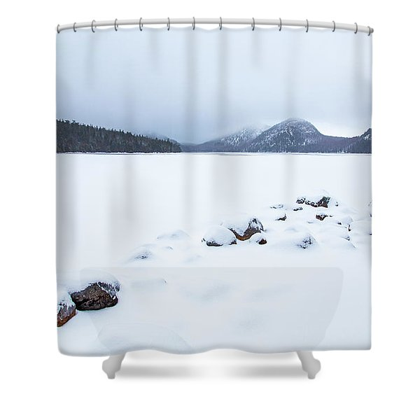 Snow Cover Jordan Pond Shower Curtain