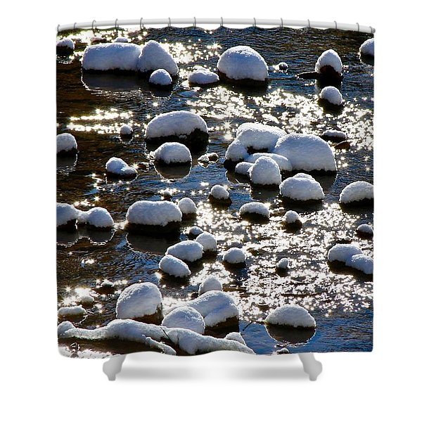 Snow Covered Rocks Shower Curtain