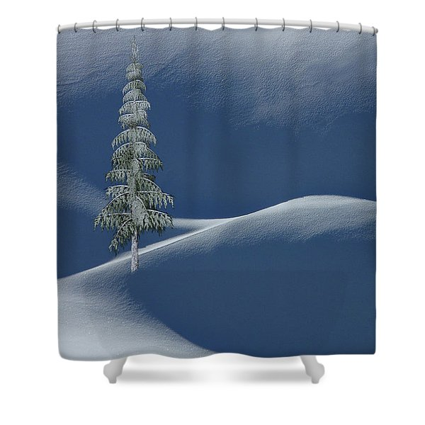 Snow Covered Tree And Mountains Color Shower Curtain