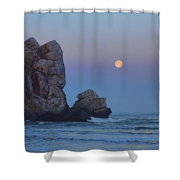Snow Moon And Morro Rock Shower Curtain