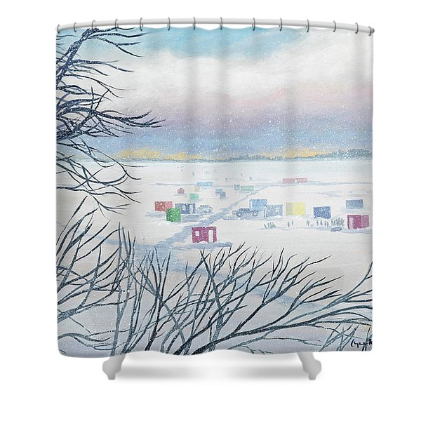 Snow Shower On The Winter Lake Shower Curtain