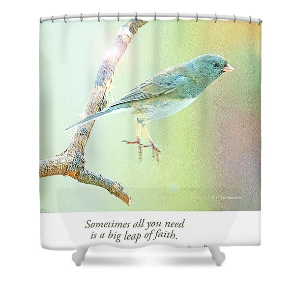 Snowbird Jumps From Tree Branch Shower Curtain