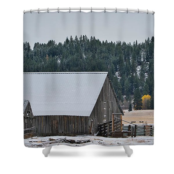 Shower Curtain featuring the photograph Snowy Barn Yellow Tree by Tom Gresham