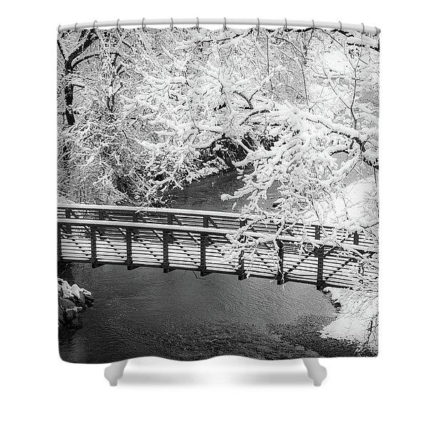 Snowy Bridge On Mill Creek Shower Curtain