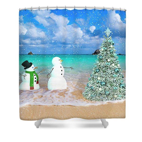 Snowy Couple On Christmas Tree Beach Shower Curtain