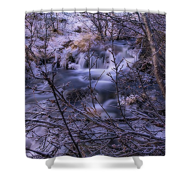 Snowy Forest With Long Exposure Shower Curtain