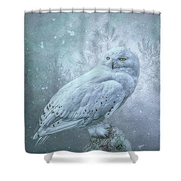 Snowy Owl In Winter Shower Curtain