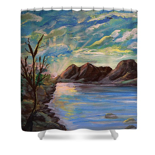 Snowy Range And Lookout Lake Shower Curtain