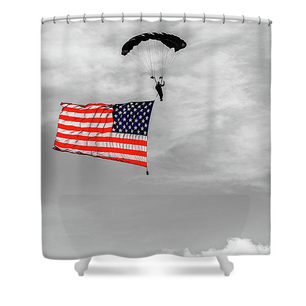 Socom Flag Jump In Selective Color Shower Curtain