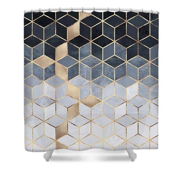 Soft Blue Gradient Cubes Shower Curtain