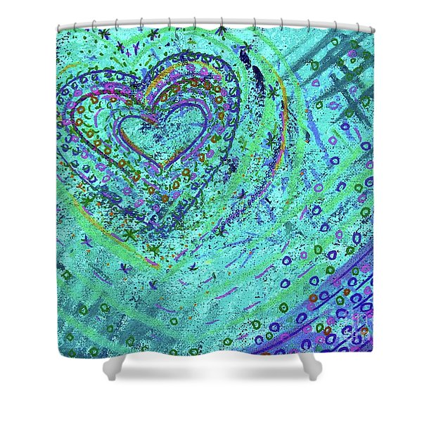 Soft Heart Of Green Shower Curtain