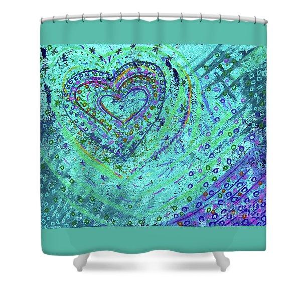Soft Heart Of Green Shower Curtain