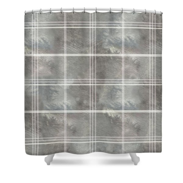 Soft Textured Cream And Blue Plaid Shower Curtain
