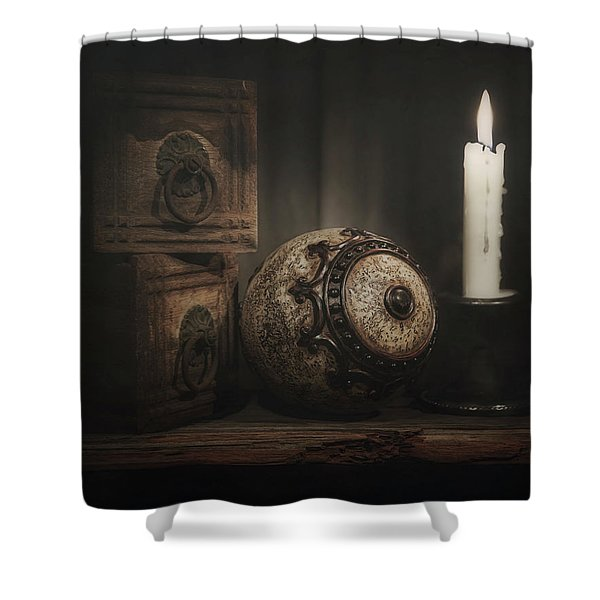 Somewhere On A Shelf Shower Curtain