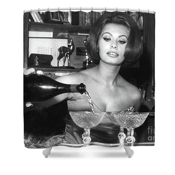 Sophia Loren, Coupe Champagne Glasses Shower Curtain