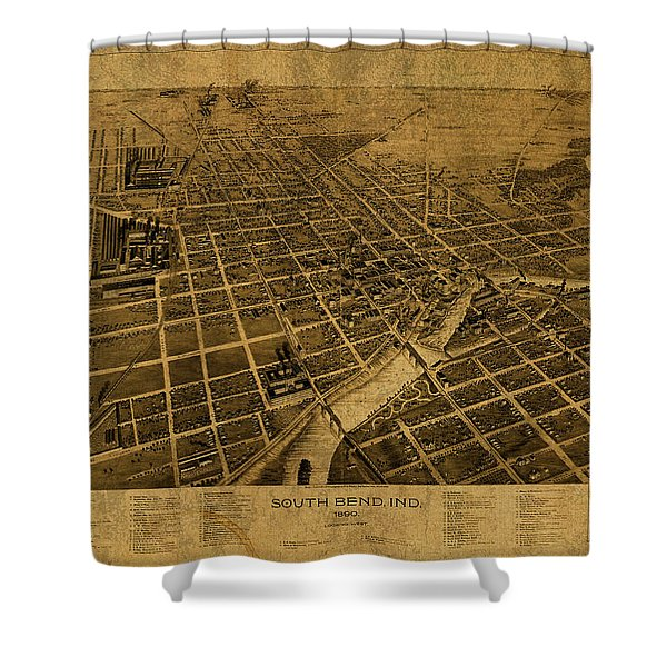 South Bend Indiana Vintage City Street Map 1890 Shower Curtain