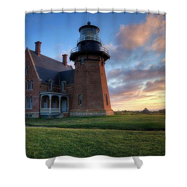 Southeast Light Sunrise Shower Curtain