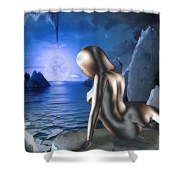 Shower Curtain featuring the digital art Space Fantasy Goddess Galaxy Ice Worlds Multimedia Digital Artwork by G Linsenmayer