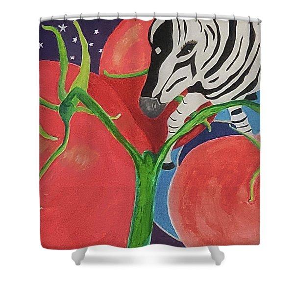 Space Zebra Shower Curtain