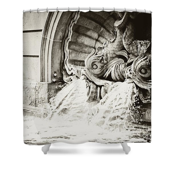 Spanish Fountain Fish Shower Curtain