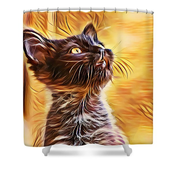 Special Long Neck Kitty Shower Curtain