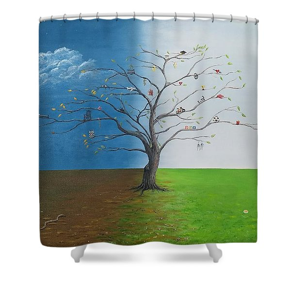 Shower Curtain featuring the painting Spirit Of Eden by Kevin Daly