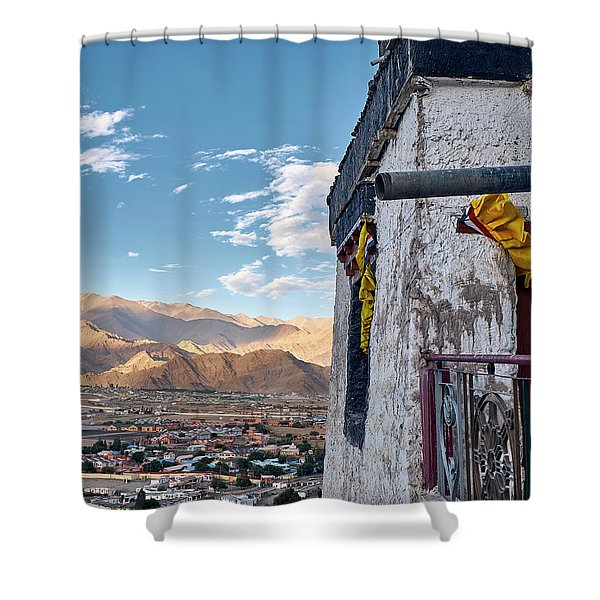 Shower Curtain featuring the photograph Spituk Gompa by Whitney Goodey