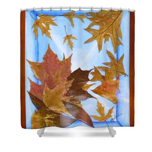 Splattered Leaves Shower Curtain