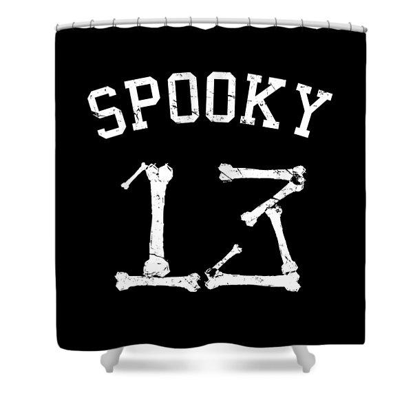 Spooky 13 Halloween Jersey Shower Curtain
