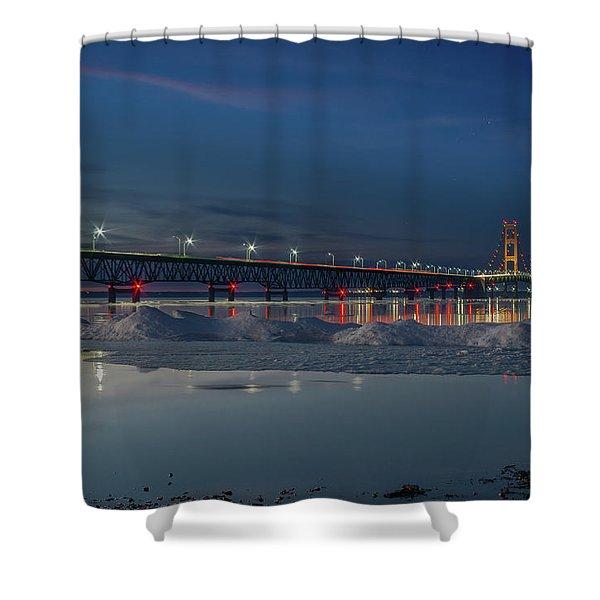 Spring Evening At The Mackinac Bridge Shower Curtain
