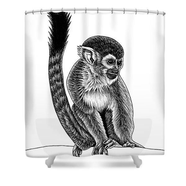 Squirrel Monkey - Ink Illustration Shower Curtain
