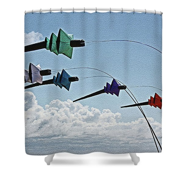 St. Annes. Pagoda Kites. Shower Curtain