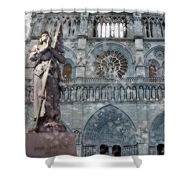 St Joan Of Arc Watch Over Notre Dame Shower Curtain