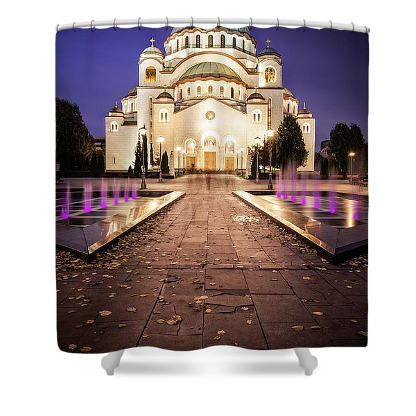 Shower Curtain featuring the photograph St. Sava Temple In Belgrade Nightscape by Milan Ljubisavljevic