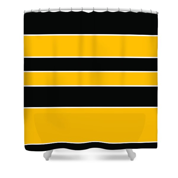 Stacked - Black And Yellow Shower Curtain
