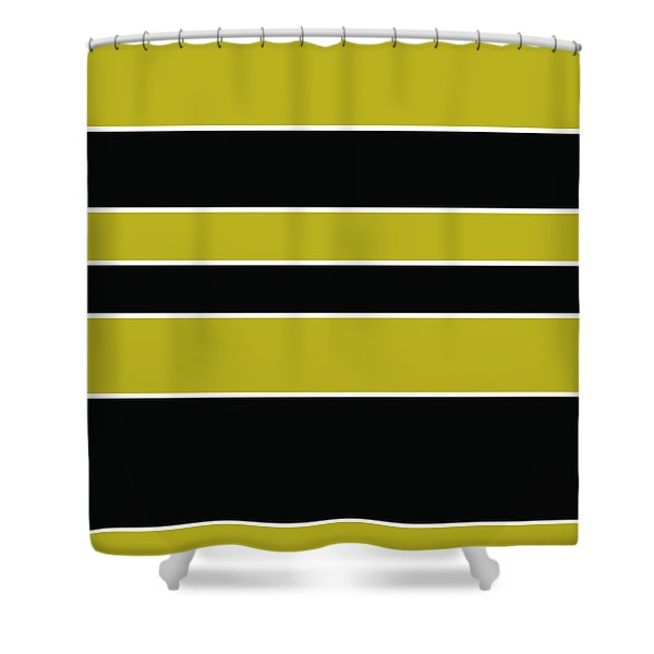 Stacked - Gold, Black And White Shower Curtain