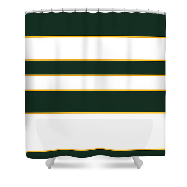 Stacked - Green, White And Yellow Shower Curtain