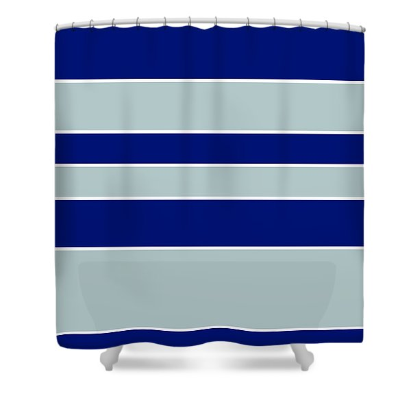 Stacked - Navy, Grey, And White Shower Curtain