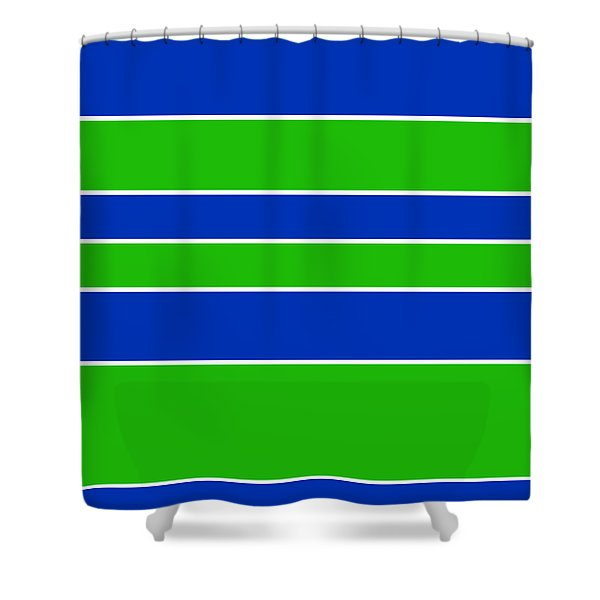 Stacked - Navy, White, And Lime Green Shower Curtain