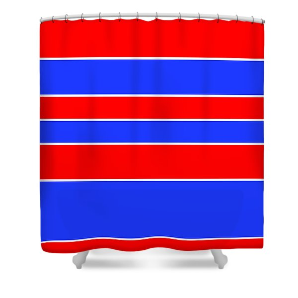 Stacked - Red, White And Blue Shower Curtain