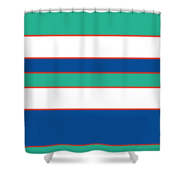 Stacked - Sea Foam, Orange, Navy And White Shower Curtain