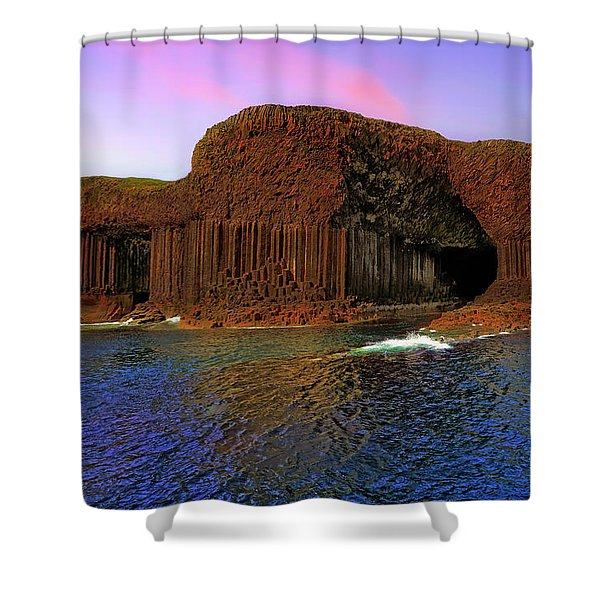 Staffa And Fingal's Cave - Scotland - Sunset Shower Curtain