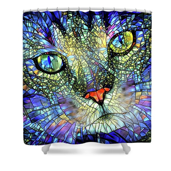 Stained Glass Cat Art Shower Curtain